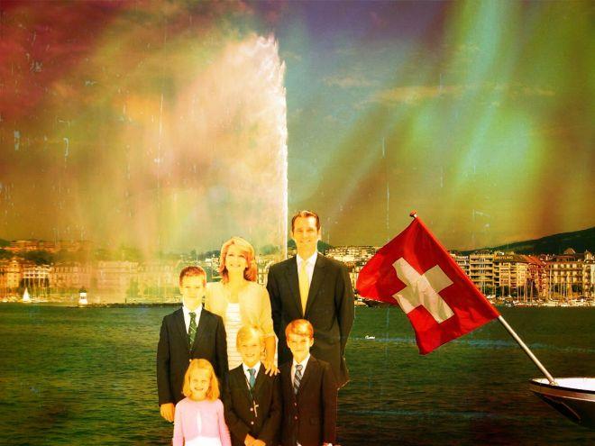 La familia Urdangarín posa en Ginebra (Suiza). Es un photomontaxe, pero tratándose de la familia real, es lo normal.